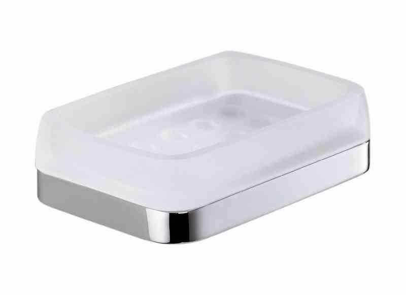 Time portasapone appoggio cromo vetro acidato accessori bagno