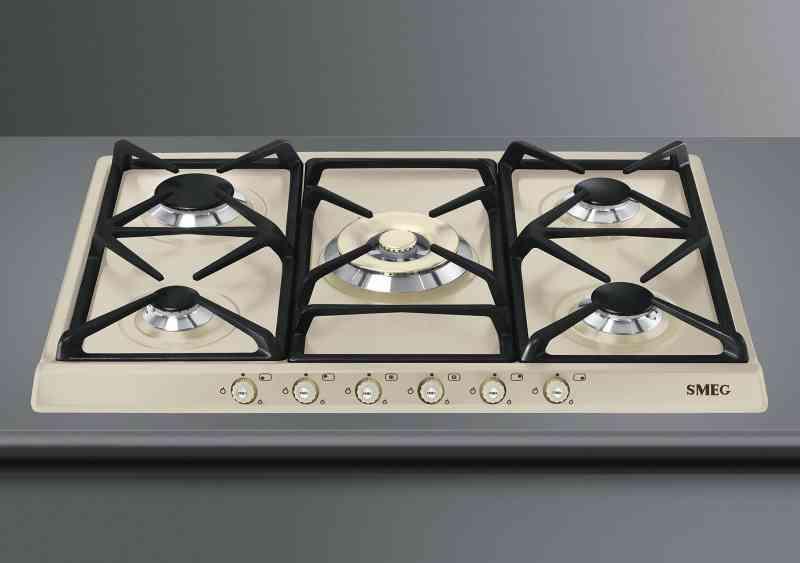 PIANO COTT. 5 FUOCHI G/GHISA 70 CM PANNA - Elettricità - SMEG ...