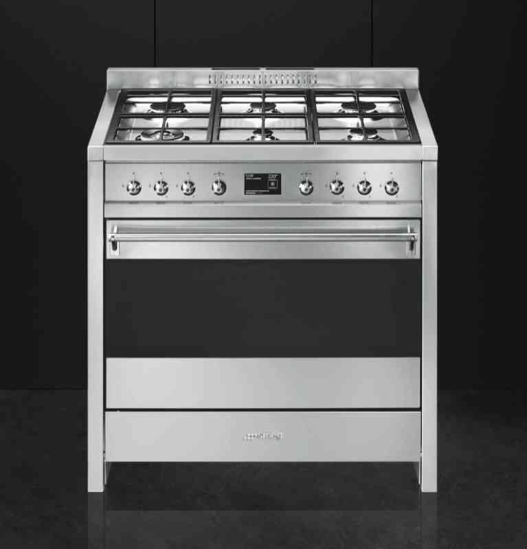 Cucina 6 fuochi forno termovent elett 90x60 inox falegnameria smeg 8017709229160 deodato - Cucina 6 fuochi ...