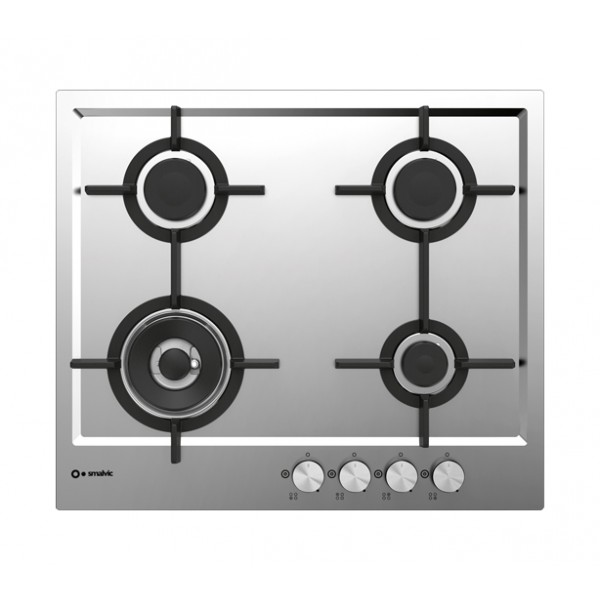 PIANO COTT. 4 FUOCHI FILO G/GHISA 60 CM INOX - Elettricità - SMALVIC ...